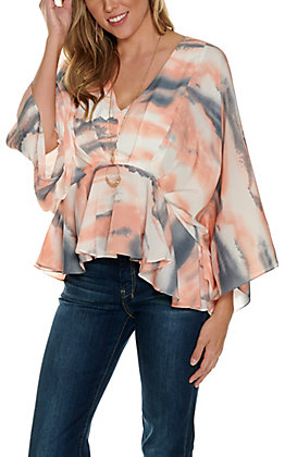 A. Calin Women's White, Blue and Coral Watercolor V-Neck 3/4 Sleeve Fashion Top