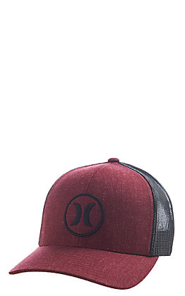 Hurley Oceanside Red and Charcoal Logo Snapback Mesh Cap