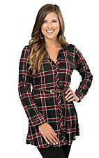 Derek Heart Women's Black & Red Plaid Long Sleeve Shirt Dress