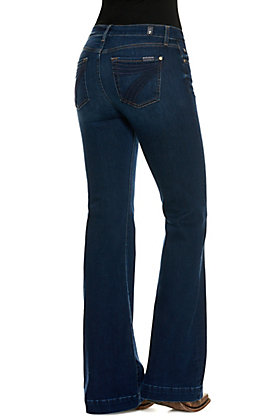 7 for All Mankind Women's Dojo Moreno Dark Wash Mid Rise Trouser Leg Jeans