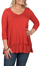 James C Women's Solid Red-Orange Layered Casual Knit Shirt