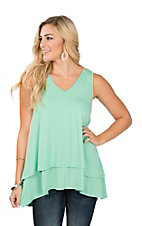 James C Women's Mint Layered Bottom Sleeveless Casual Knit Shirt