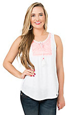 Derek Heart Women's White with Pink Embroidery Sleeveless Fashion Top