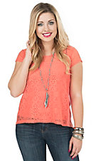 Derek Heart Women's Melon Lace Front Cap Sleeve Knit Top