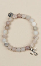Laminin Authentic Matte Grey Druzy Beaded Bracelet
