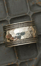 Hammered Silver Wide Cuff Bracelet AW001