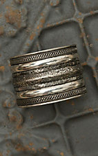 Silver Ribbed Wide Cuff Bracelet AW003