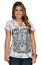 Affliction Women's White Abrasive Split Neck Short Sleeve Tee
