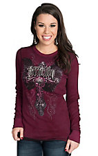 Affliction Women's Burgundy Devotion Reversible Thermal Top