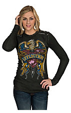 Affliction Women's Eagle Long Sleeve Reversible Thermal