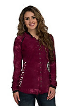 Afflicition Women's Cranberry RA Long Sleeve Button Up Hooded Henley