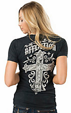 Affliction Women's Black Jasmine V-Neck Pocket Short Sleeve Tee