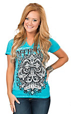 Affliction Women's Turquoise Expression Short Sleeve Tee