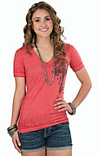 Affliction Women's Red Versailles V-Neck Short Sleeve Burnout Tee