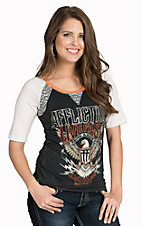 Affliction Women's Black Sweet Home 3/4 Raglan Sleeve Tee