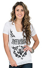 Affliction Women's White Burnout Chantilly Short Sleeve Tee