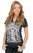 Affliction Women's Black Lava Wash Renegade Love Short Sleeve Western Tee
