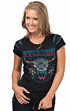 Affliction Women's Black Lakota Paneled Short Sleeve Tee
