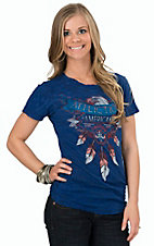 Affliction Women's Cobalt / Black Lava Open Road Short Sleeve Reversible Tee