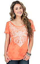 Affliction Women's Orange Orleans Short Sleeve Tee