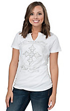 Affliction Women's White Pure Heart Short Sleeve Tee