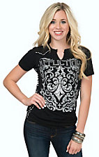 Affliction Women's Black Integrate Short Sleeve Tee