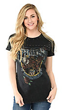 Affliction Women's Heavy Black with Faded Screen Print Front Design Short Sleeve Casual Knit