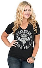 Affliction Women's Black with Crochet Cut-Out and White Screen Print Design Short Sleeve Casual Knit Shirt