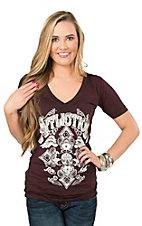 Affliction Women's Sangria and Black Burnout with White Screen Print Design Short Sleeve Casual Knit Top