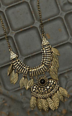 Gold Fringe Leaves Layered Necklace AW121