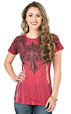 Affliction Women's Red River Wash with Black Designs Short Sleeve Casual Knit