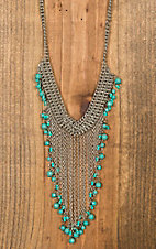 Silver Fringe Chain with Turquoise Beads Necklace
