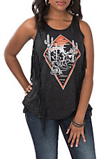 Affliction Women's Black Cactus Dreams Fringe Tank Top