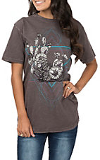Affliction Women's Pepper Corn Short Sleeve Cactus Garden Casual Knit Tee