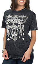 Affliction Women's Black Rose Skull Junction Short Sleeve Casual Knit Tee