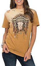 Affliction Women's Cumin Full Color Steer Skull Short Sleeve Casual Knit Top