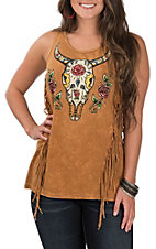 Affliction Women's Camel Crystal Canyon Skull Fringe Tank Top
