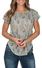 Affliction Women's Grey Cactus Print Short Sleeve Tee