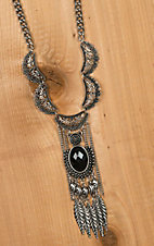 Silver Filigree Black Stone Feather Fringe Necklace AW529