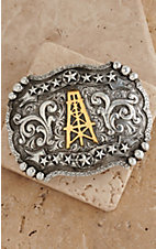 AndWest Silver with Gold Oil Derrick Western Scroll & Stars Buckle