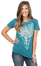 Affliction Women's Teal Leathersmith V-Neck Short Sleeve Burnout Tee