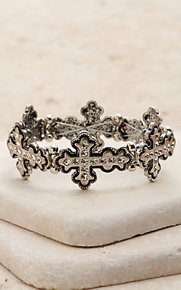 Amber's Allie Silver Cross Stretch Bracelet