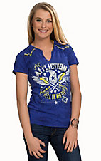 Affliction Women's Electric Blue Golden Eagle Short Sleeve Western Tee