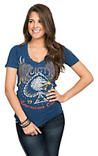 Affliction Women's Navy Wingspan with Laser Cut Back Short Sleeve V-Neck Tee