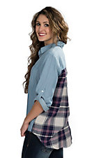 Velvet Heart Women's Plaid Back Denim Roll Cuff Top