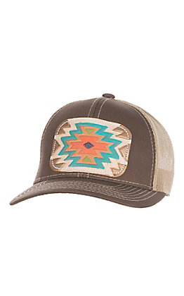 McIntire Saddlery Brown with Aztec Print Tooled Leather Cap