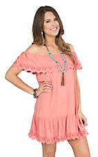 Umgee Women's Coral with Lace Trim Off the Shoulder Dress