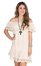 Umgee Women's Natural with Lace Trim Off the Shoulder Dress