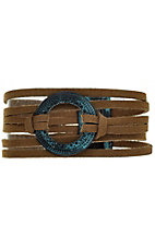 Faux Suede and Patina Bracelet