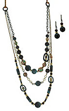 Multi Layer Necklace and Earrings Jewelry Set